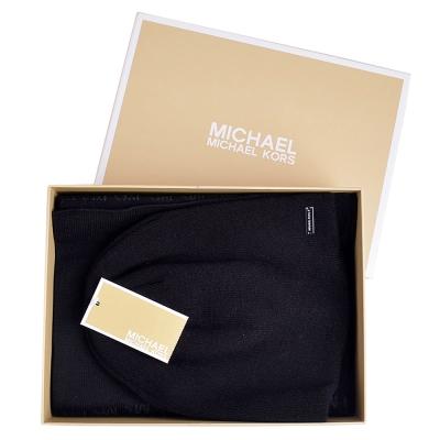 MICHAEL KORS 雙色針織圍巾/毛帽禮盒組-黑/灰