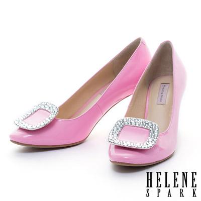 HELENE SPARK 亮面晶鑽方釦全真皮典雅高跟鞋-桃