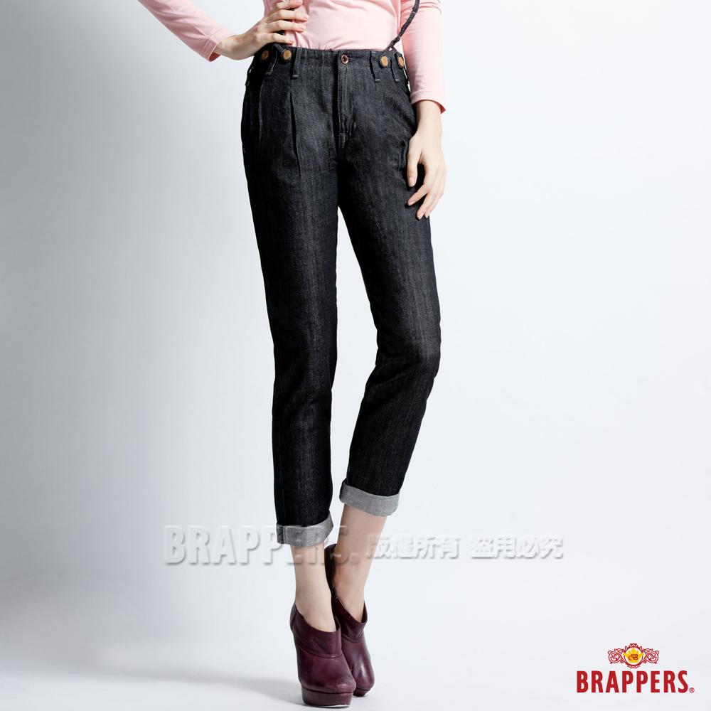 BRAPPERS 女款 BoyFirendBallon-燈籠3D八分吊帶反摺褲-黑