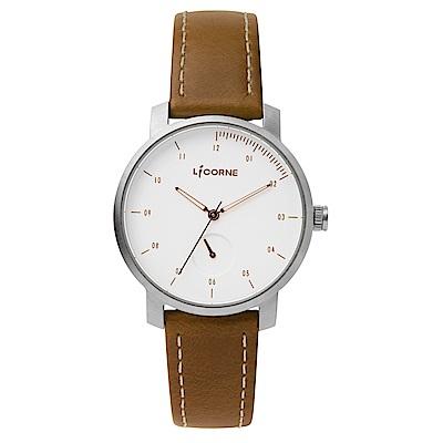 LICORNE MYO系列 精工品味經典簡約手錶 白玫金x咖/ 38 mm