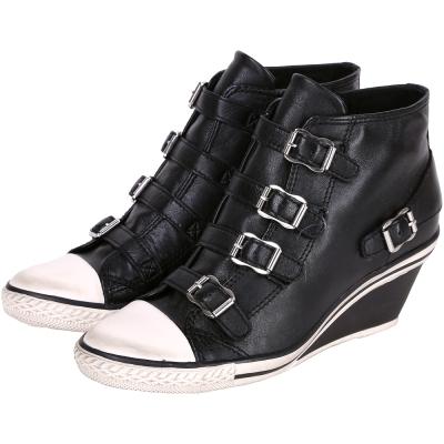 ASH GENIAL 經典羊皮釦帶楔型休閒鞋(黑色)