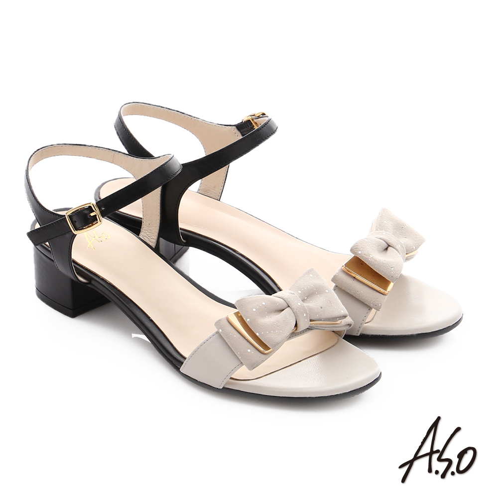 A.S.O 南法香頌 金屬異材質混搭蝴蝶結粗低跟涼鞋 白色