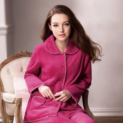 羅絲美睡衣 - 素雅風情保暖厚褲裝睡衣 (素雅桃紅)