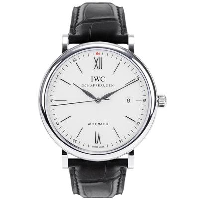 IWC 萬國錶 小葡萄牙 Portofino 柏濤菲諾經典三針腕錶-銀白/40mm