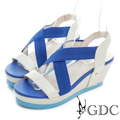 GDC-繽紛色彩交叉真皮楔型厚底編織涼鞋-藍色