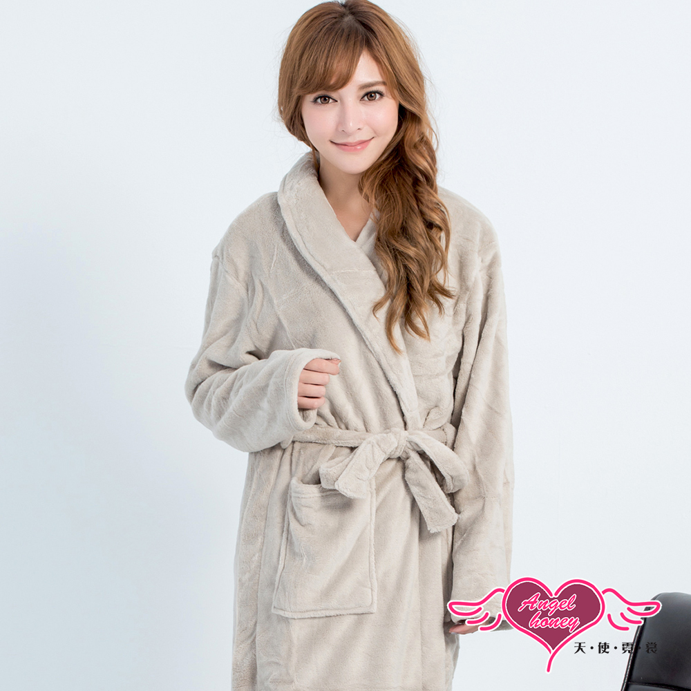 保暖睡袍 法式甜心 柔軟珊瑚絨一件式綁帶連身睡衣(淺灰F) AngelHoney天使霓裳