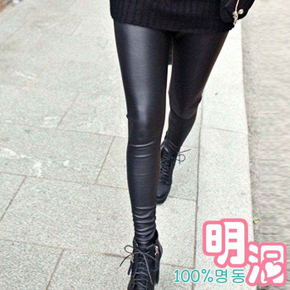 特務風顯瘦輕盈感率氣皮褲 (黑色)-100%明洞