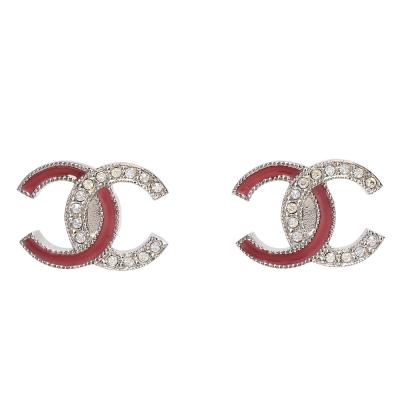 CHANEL 經典雙C LOGO陶瓷水鑽鑲嵌穿式耳環(玫瑰粉X銀)
