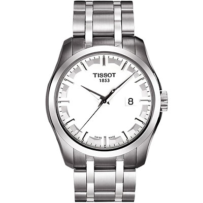 TISSOT Couturier 建構師系列大三針腕錶-白/39mm