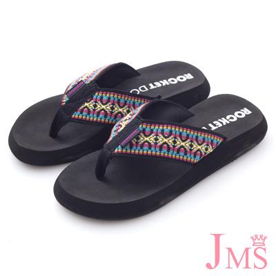 JMS-超舒適素面海灘夾腳拖-圖騰黑