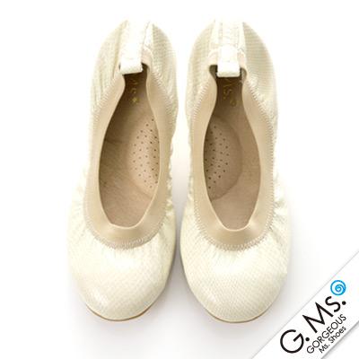 【G.Ms.】旅行女孩II‧動物紋全真皮可攜式軟Q娃娃鞋(附專屬鞋袋)‧蚚蜴米白