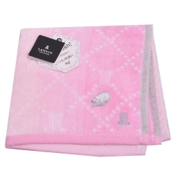 LANVIN 優雅圖騰LOGO刺繡菱格紋浮水印小方巾(漸層粉紅)