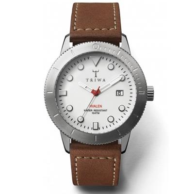 TRIWA HVALEN系列 Ivory真皮腕錶-銀x咖啡/40mm