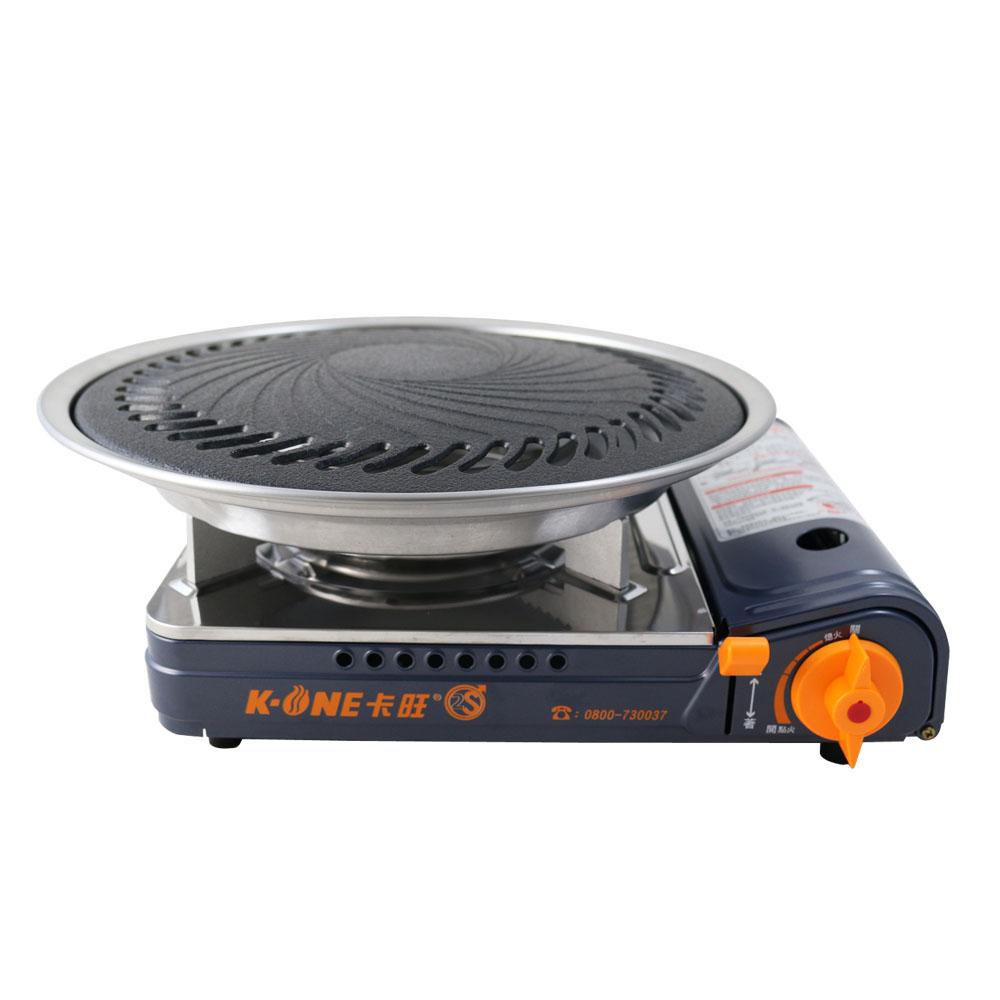 卡旺K1-A002SD雙安全卡式爐+K-ONE卡旺超級燒烤盤-K1BQ-007