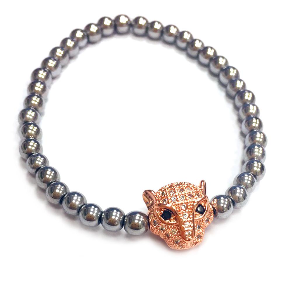 One of a kind 美洲豹手鍊 玫瑰金鑲鑽 925純銀珠珠 可彈性伸縮