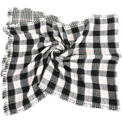 MARELLA-千鳥格紋-不修邊-圍巾-披肩-黑白