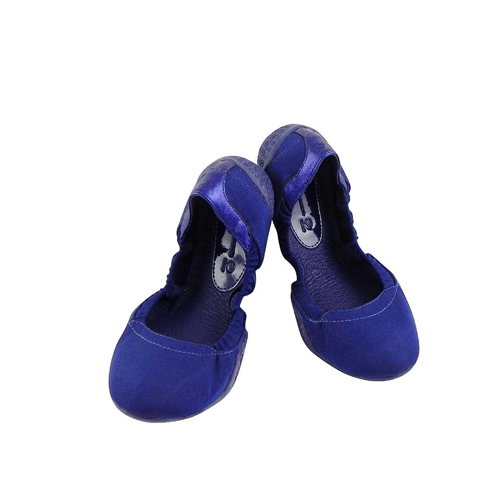 Y-3山本耀司 海軍藍色真皮弧形娃娃鞋【女款US 6號】