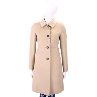 Max Mara-WEEKEND 駝色縫線細節釦式羊毛大衣(100%WOOL)
