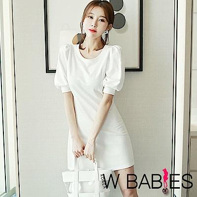 正韓 純色壓褶公主袖連身洋裝 (共四色)-W BABIES