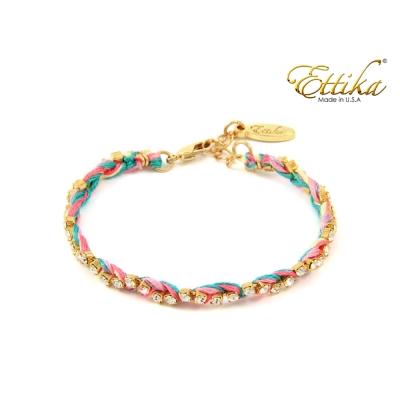 Ettika 美國品牌 水晶金鍊友誼編織幸運手環 Pastel