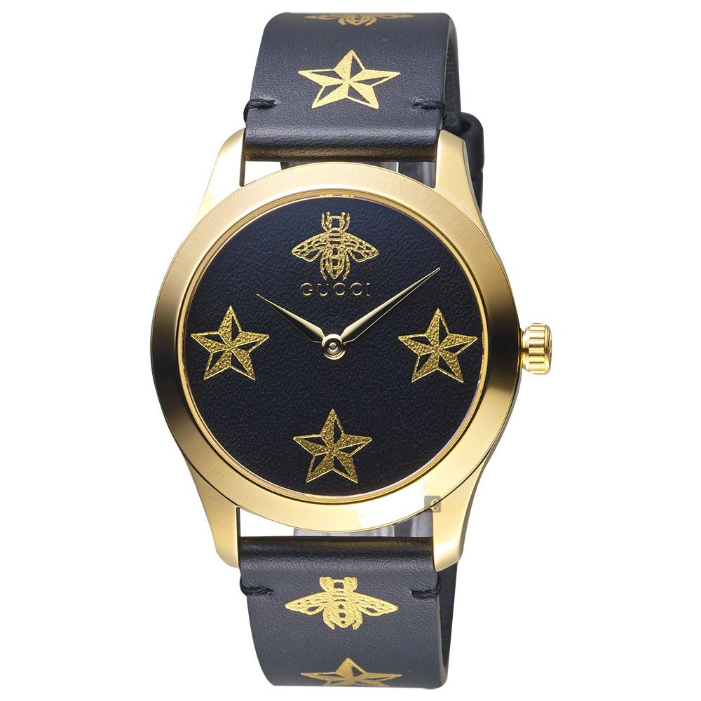GUCCI古馳 G-Timeless 蜜蜂星星印花手錶-38mm YA1264055