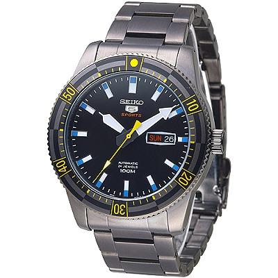 SEIKO 運動潛將百米5號24石自動機械男錶(SRP737K1)-全IP黑/43mm