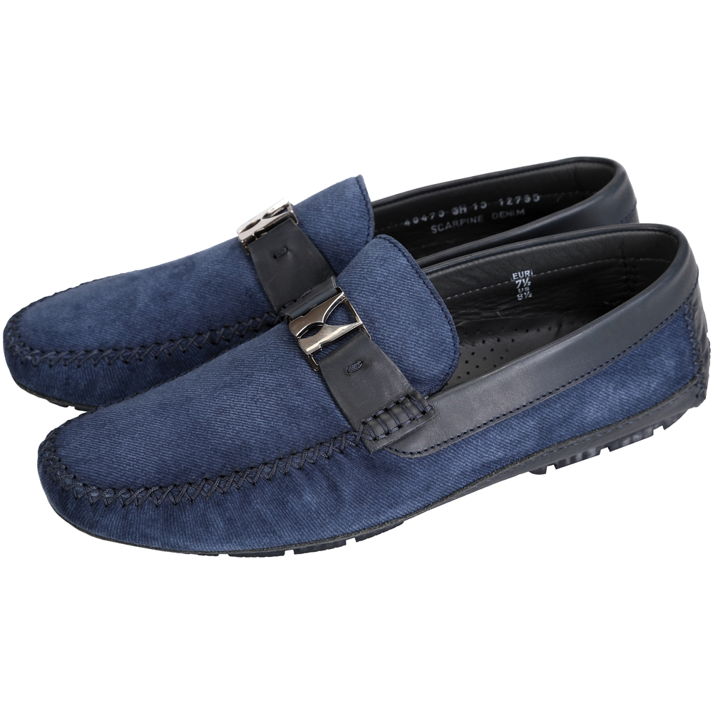 MORESCHI 金屬LOGO拼接麂皮樂褔鞋(深藍色)