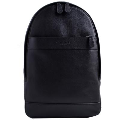 COACH 壓印LOGO拉鍊前袋皮革單肩斜背後背包-黑