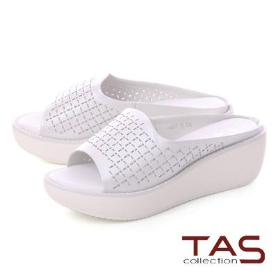 TAS鉚釘一字寬版牛皮打洞厚底拖鞋-時尚白