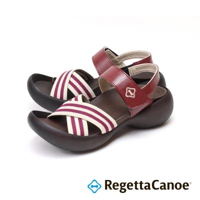 RegettaCanoe-紅白條紋可調式樂步鞋-酒紅色