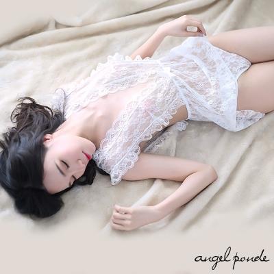 情趣睡衣 前後深V花邊蕾絲透明睡裙送T褲二件組(白色)-天使波堤