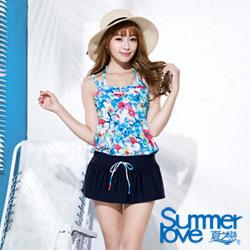 夏之戀SUMMERLOVE 海洋花園連身裙三件式泳衣