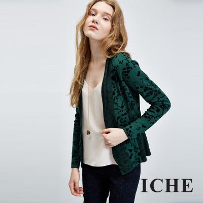ICHE衣哲 蕾絲圖紋印花羊毛針織外套