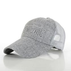 幸福揚邑 防曬透氣速乾夏季時尚百搭戶外運動亞麻網帽遮陽帽棒球帽-深灰色