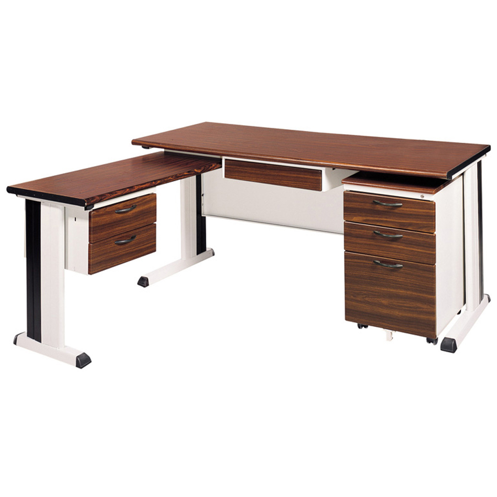 時尚屋胡桃木面辦公桌櫃組(100x150)