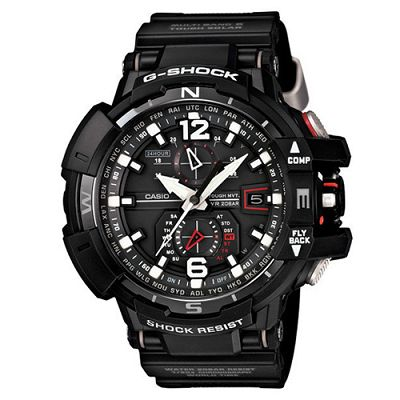 G-SHOCK 高規格駕駛旗鑑款電波飛行概念錶(GW-A1100-1A)-鍍黑x紅線/54mm