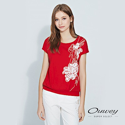 OUWEY歐薇 蕾絲花朵裝飾連袖棉質上衣(紅)