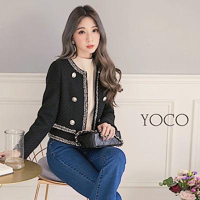 東京著衣-yoco 經典赫本氣質滾邊小香外套-S.M.L(共一色)