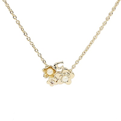 COACH 珍珠水鑽花朵3段式項鍊(金色)