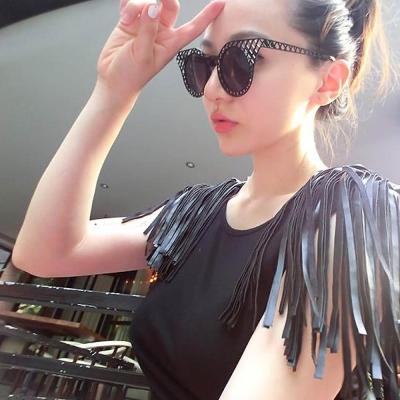 Seoul Show 來自星星的你全智賢千頌伊 貓眼金屬鏤空太陽眼鏡 黑色