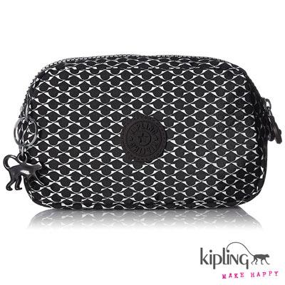 Kipling-雙拉鍊收納包-黑白扇形印花