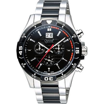 Ogival 愛其華 都會大日期視窗計時腕錶-黑x銀/45mm