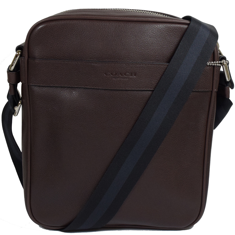 COACH 經典LOGO烙印牛皮雙色織帶斜背包.深咖
