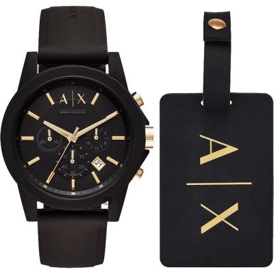 A│X Armani Exchange 率性品味計時套錶-黑/44mm