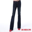BOBSON 女款保暖紗小喇叭褲-藍色