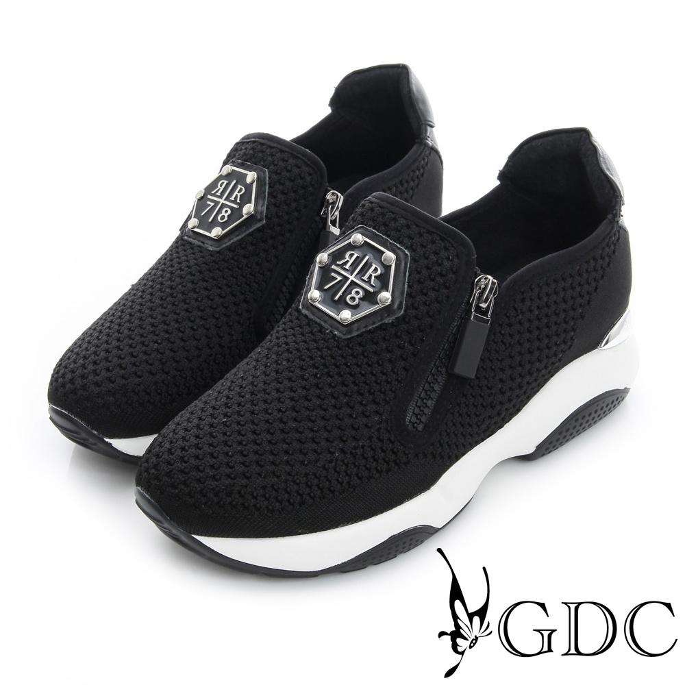 GDC舒適-雙拉鍊編織厚底真皮運動風休閒鞋-黑色