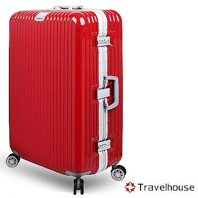 Travelhouse 爵世風華 29吋PC鋁框鏡面行李箱(亮紅)