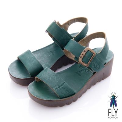 Fly London(女) JAMINE 露背踝扣牛皮楔型涼鞋-藍綠