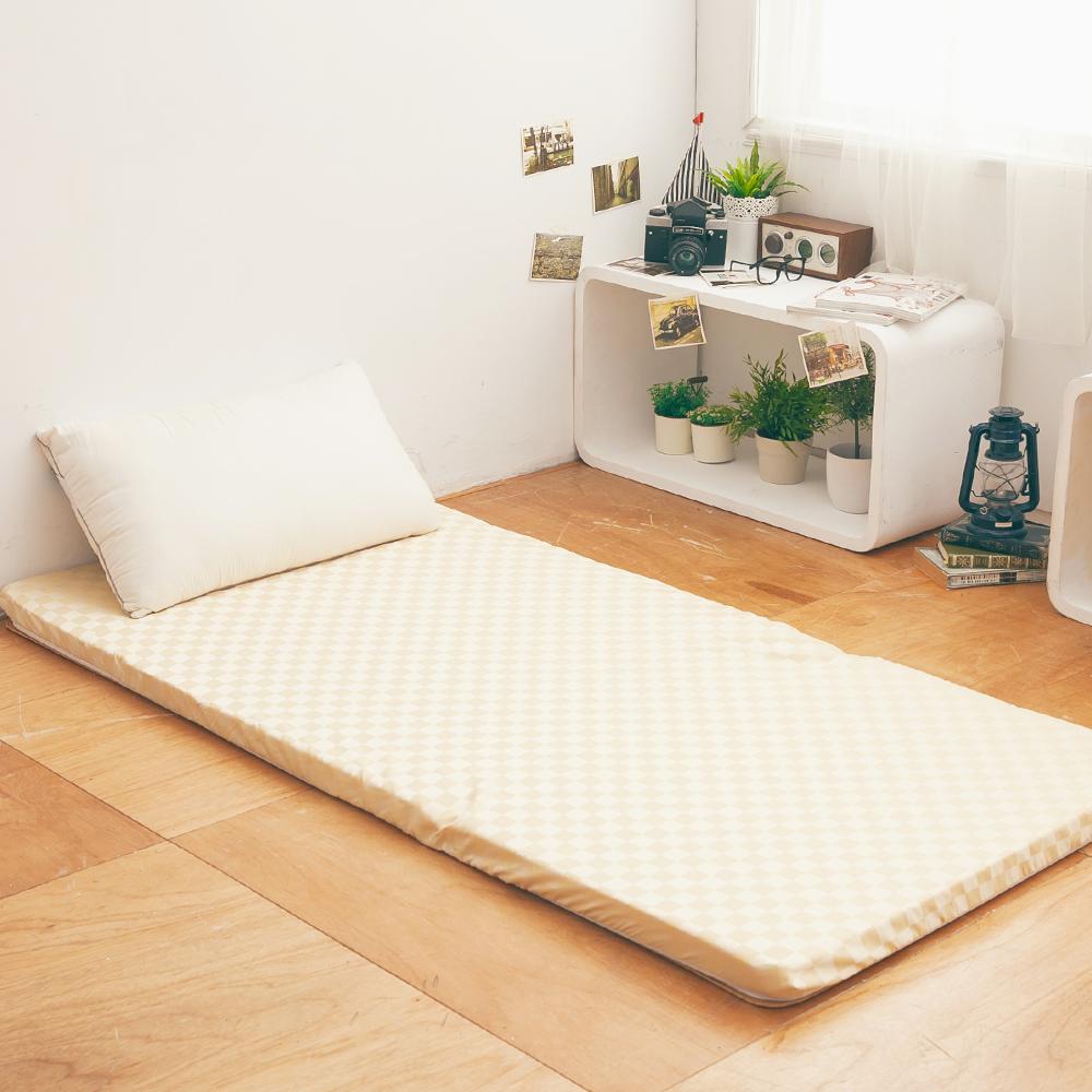 LAMINA  菱格紋兩用透氣床墊-黃-5cm (單人)