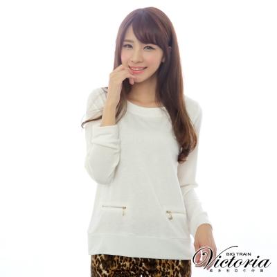 Victoria 雙口袋拉鍊撞色長袖T-女-米白